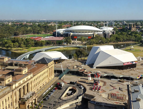 Adelaide Stadium Adelaide Adelaide, South Australia Architectural Feature Architecture Australia Bird's Eye View Birds Eye View Building Exterior Built Structure City City City View  Cityscape Cityscapes Large Group Of Objects Modern Park Parks Seeing The Sights South Australia Stadium Travel Travel Traveling Travelling