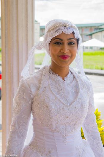 Portrait Smiling Happiness Lifestyles Beautiful Caribbean Trinidad And Tobago Stillife Muslimwedding Life Events Wedding Celebration Bride Wedding Dress