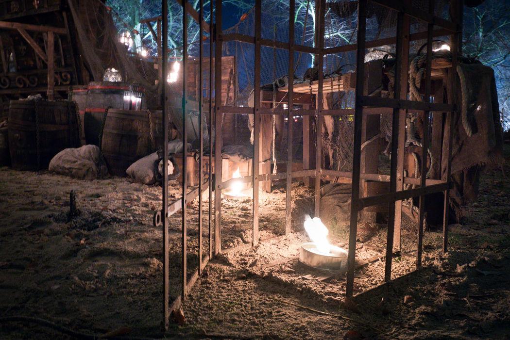Buccaneer Lantern Burning Flame Illuminated Middle Ages Night Sailing