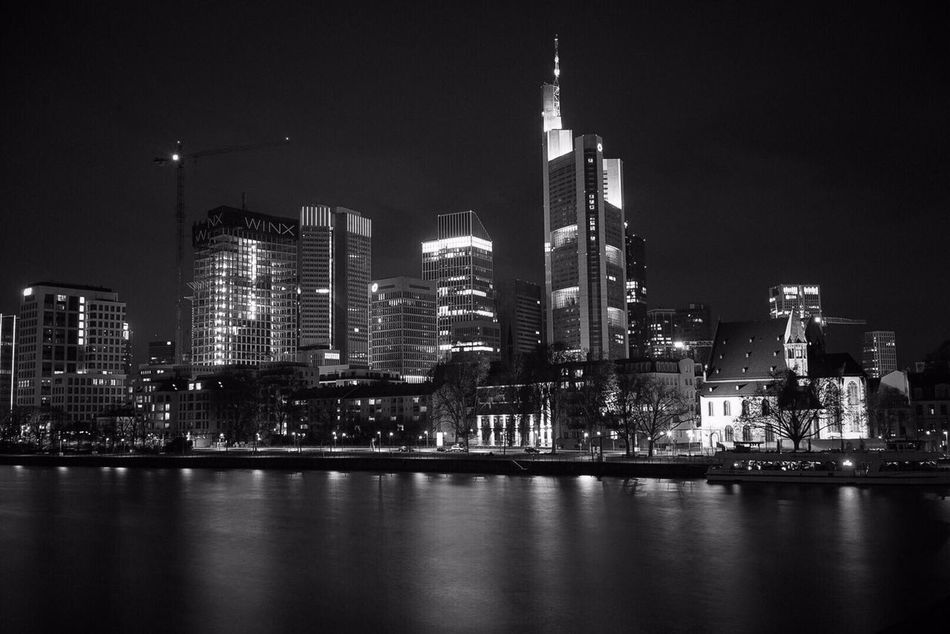 Frankfurt Am Main Monochrome Photography Langzeitbelichtung Skyline Lights Blackandwhite Sonyalpha7ii 35mm First Eyeem Photo