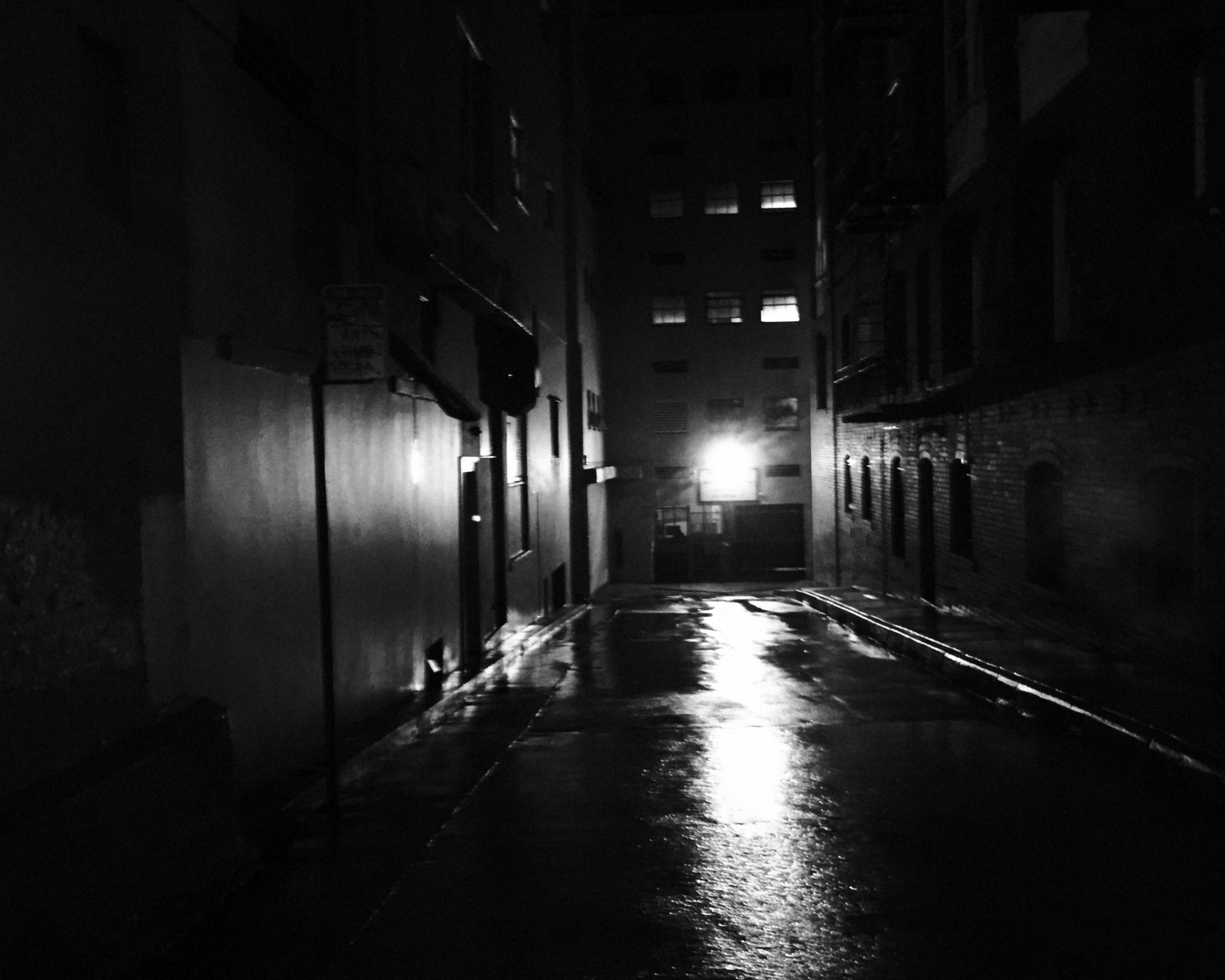 architecture, building exterior, built structure, illuminated, street, residential building, empty, road, long, street light, narrow, night, the way forward, residential structure, surface level, city, residential district, dark, outdoors, alley, town, lit, empty road, no people, old town