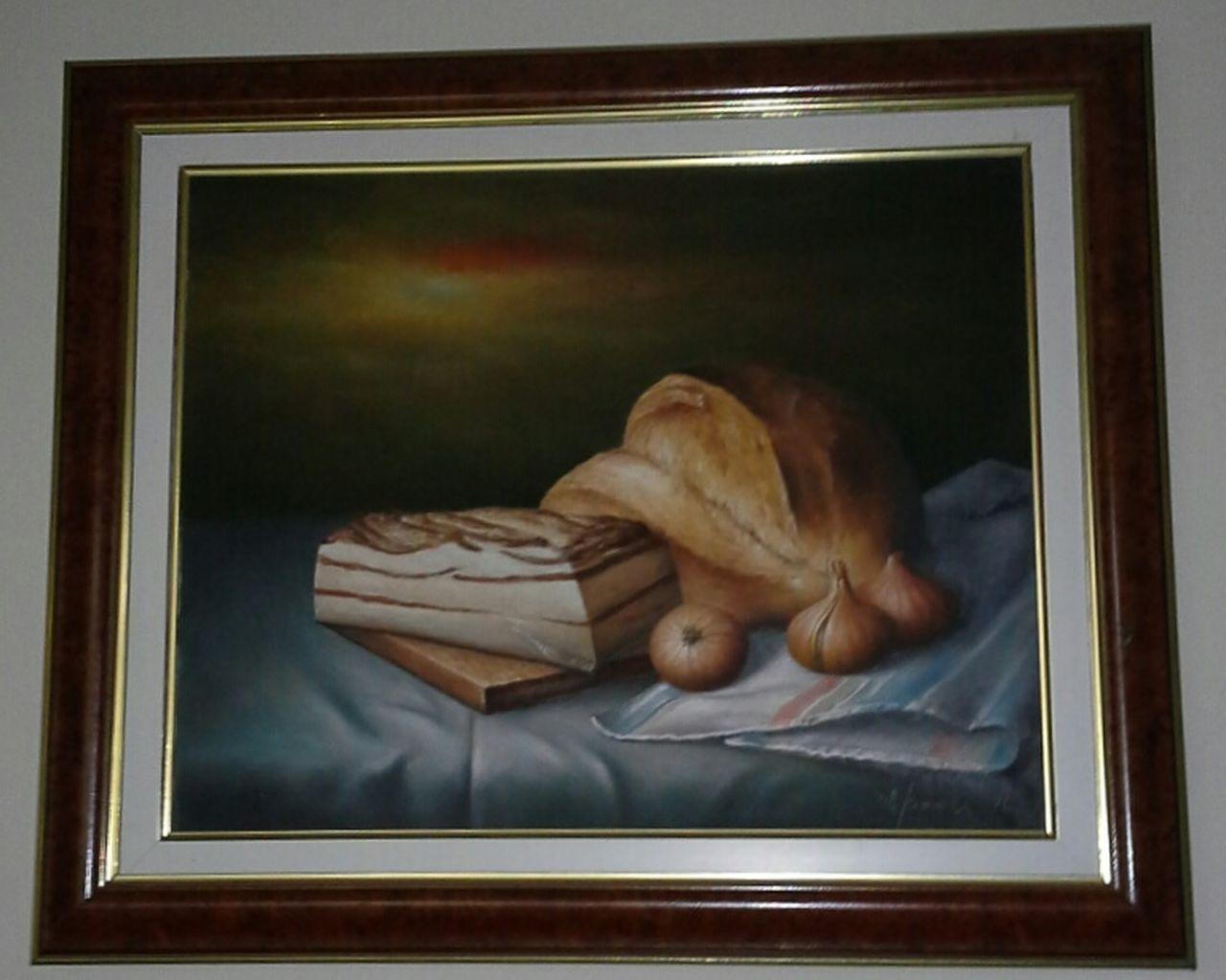 Picture Vojvodjanski Astal Laloska Klopa Vintage Food Slanina Luk Hleb Hem Onion Bread