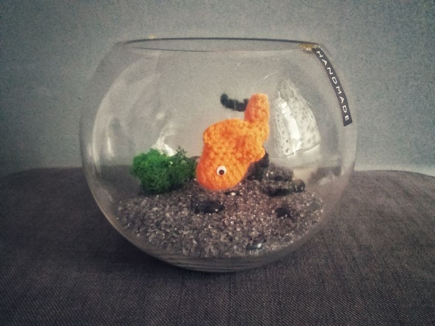 crochet goldfish koi Koi Goldfish Feng Shui Crochet Arts And Crafts Faux Taxidermy Orange Color Orange Wool Fishbowl Fish Art Handmade
