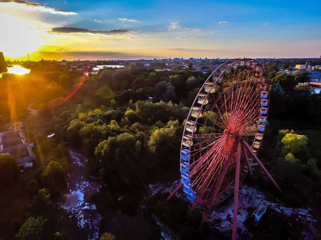 Abandoned Places Beautiful Berln Ferris Wheel Landscape Moody Sky Spreepark Spreepark Plänterwald Sunset Drone  Www.airteam.camera