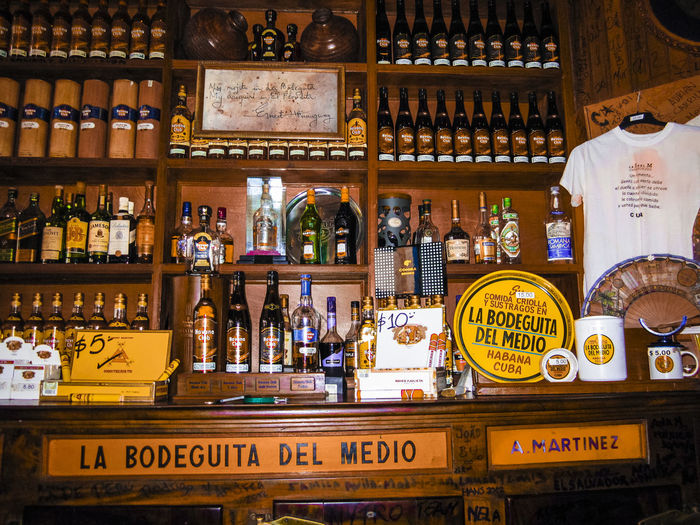 Cuba Havana Rum Alcohol Bar - Drink Establishment Bottle Day Drink Food And Drink Freshness Indoors  La Bodeguita Del Medio No People Refreshment Shelf Store Variation