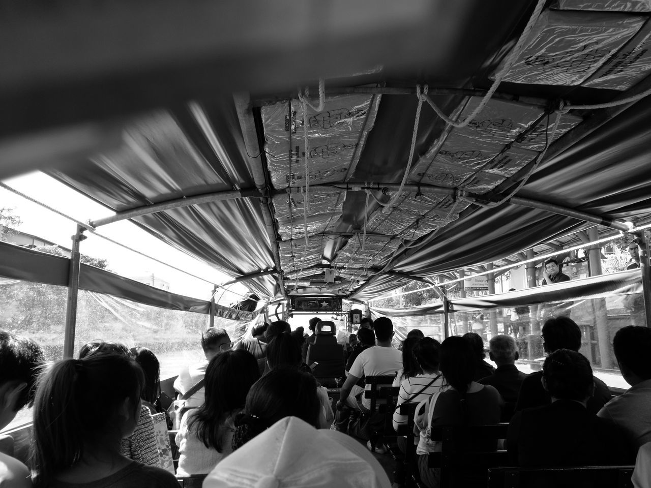 Thailand Culture Travel Large Group Of People Real Life Thai Style Journey Public Transportation Leica Black And White HuaweiP9 Time