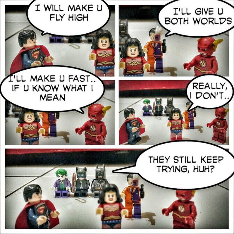 The seduction.. lol Justiceleague LegoBatman Flash Theflash wonderwoman superman catwoman twoface lego legoindonesia dccomic legodccomic joker humor brickcentral bricks joke