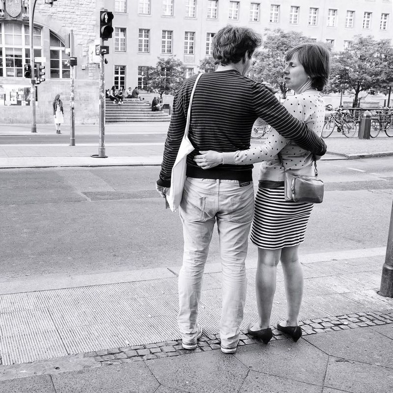 Couple Stripes Everywhere In Love Notes Of Berlin Streets Of Berlin Urban Spring Fever Berlin Black & White Street Photography Blackandwhite Black And White Streetphotography Monochrome Neukölln The Street Photographer - 2016 EyeEm Awards People Together Everywhere Lines Line Pattern Adapted To The City