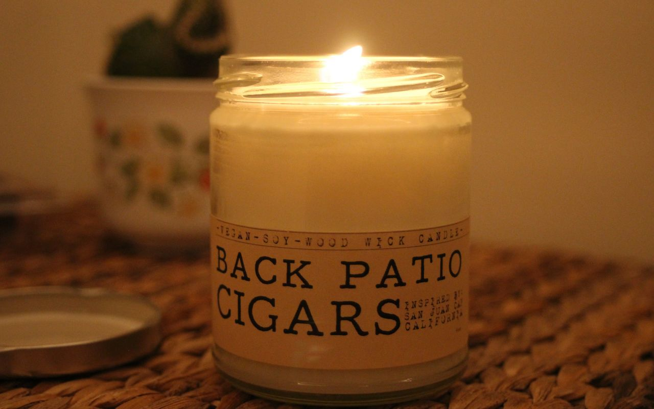 Apartment Back Patio Cig Candle Candles Flame Flowers Relaxing Unwind Vegan Whisky Wicks