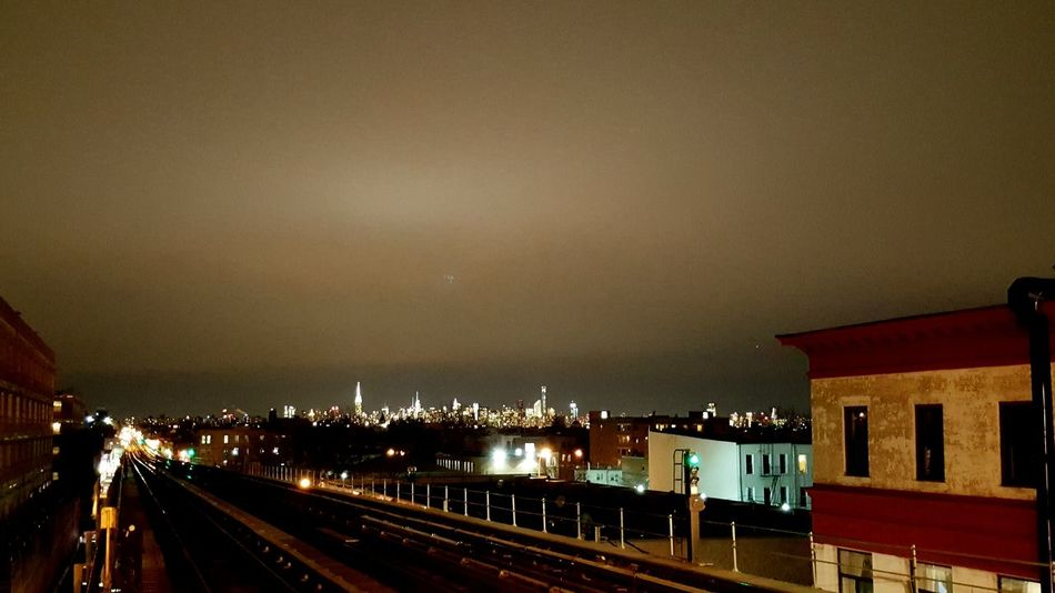 Newyorkcity Urban Landscape All The Neon Lights Night Photography Brooklyn Nyc Mta Nyc Transit View From Platform Gotham Nyc City Bushwick Manhattan Skyline Cities At Night New York City Battle Of The Cities My Commute Illuminated