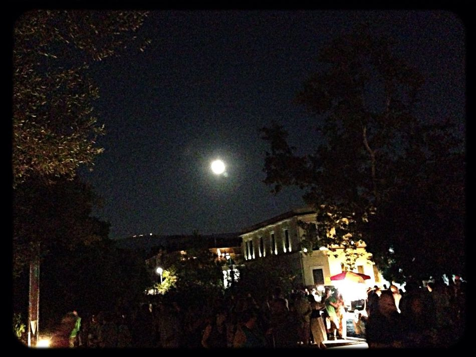 Athens Full Moon Old Buildings Summer