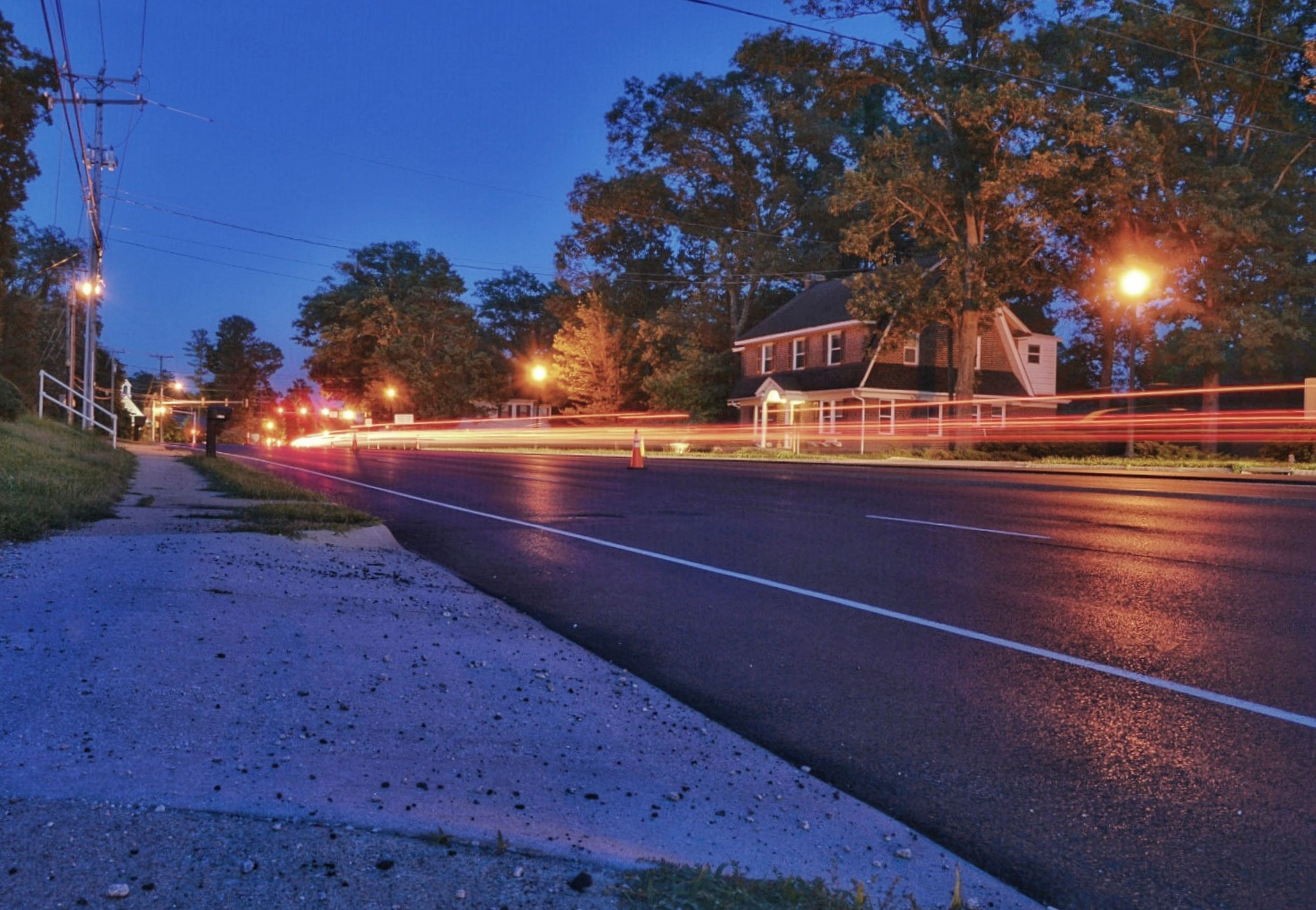 illuminated, night, tree, sky, road, transportation, no people, outdoors, city, building exterior, architecture, speed, motion