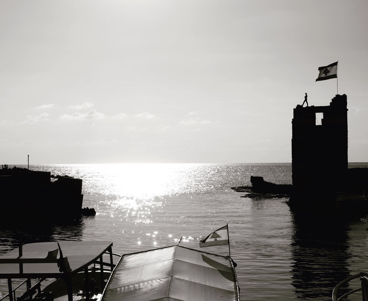 Byblos Phoenician Port Sunset Black And White History Horizon Over Water Tourism Archeology