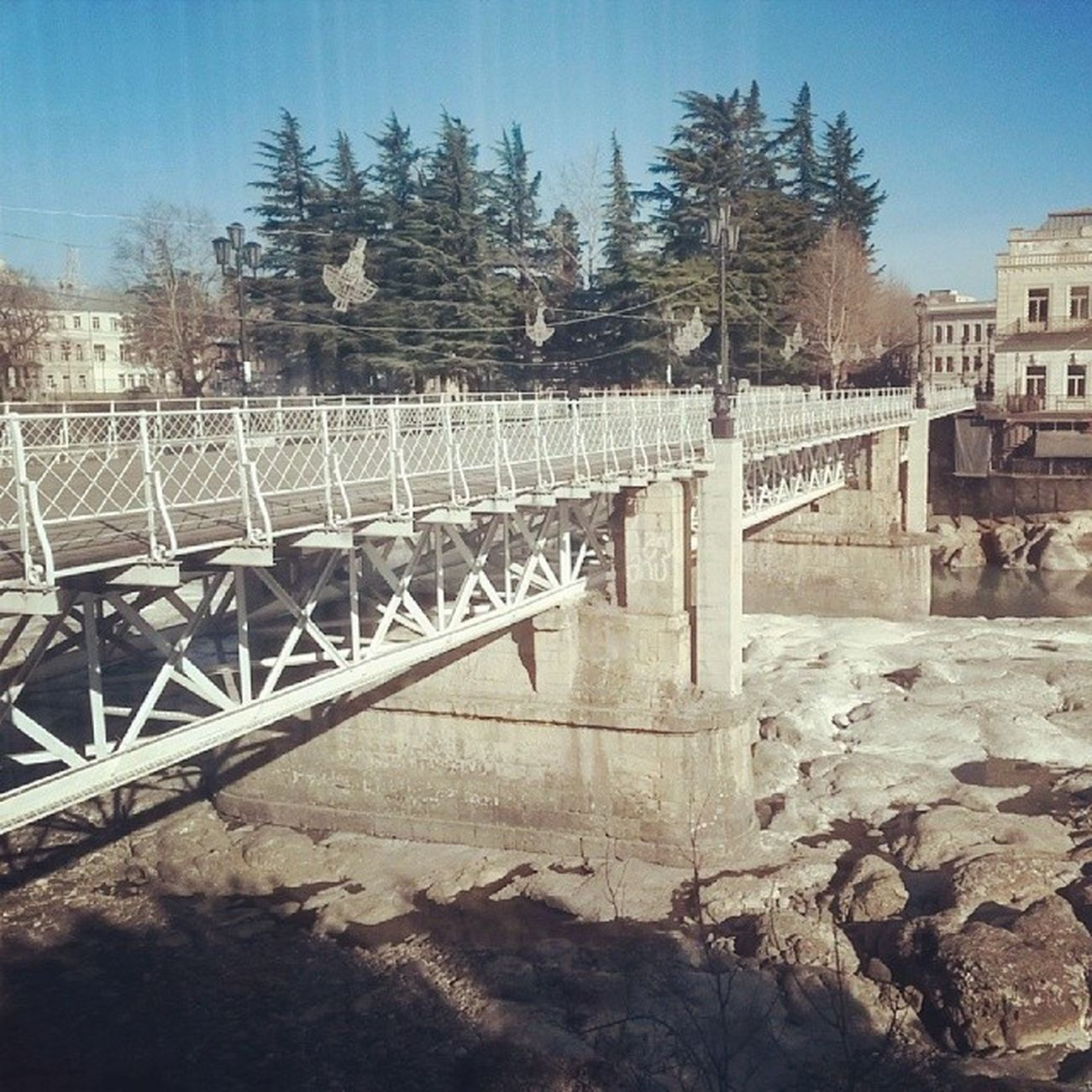 Kutaisi Rioni  Bridge Landscspe river white stones