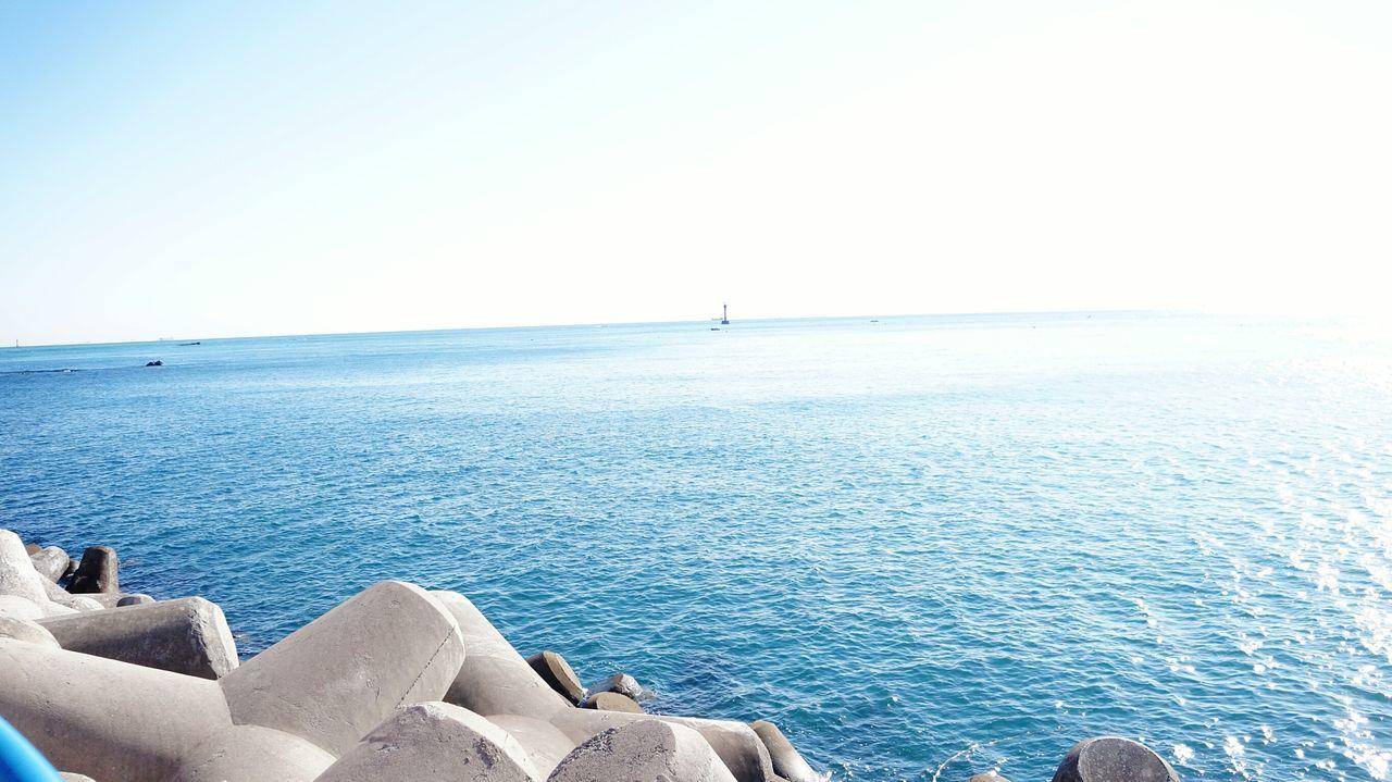 청사포 Sea Blue Water Clear Sky Beauty In Nature Outdoors No PeopleSea Beach Sunlight Nature Scenics Sky 해운대 Lighthouse 등대 방파제 Busan,Korea Clear Sky Water Blue Horizon Over Water Sky Beauty In Nature