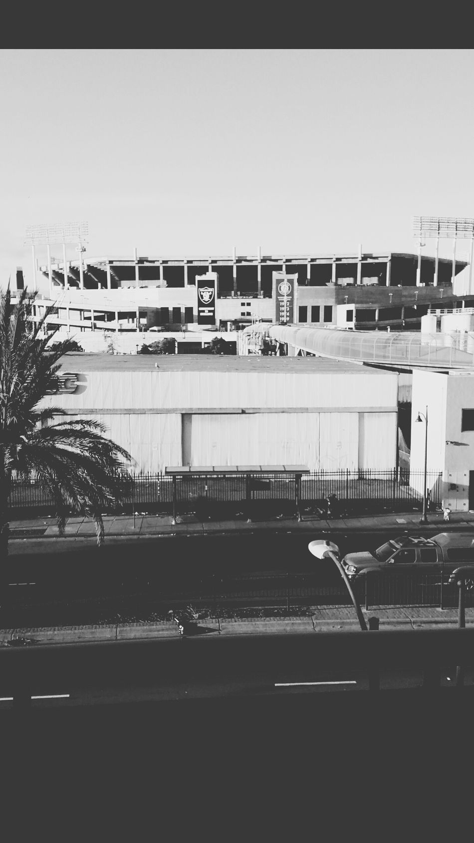 Oakland Coliseum, Oakland Ca. Go Raiders, Go Athletics!!! Built Structure Outdoors Day No People Architecture Stadium Sky B&w Street Photography Street Photography Oakland California Random Shots Oakland Raiders Oakland Athletics