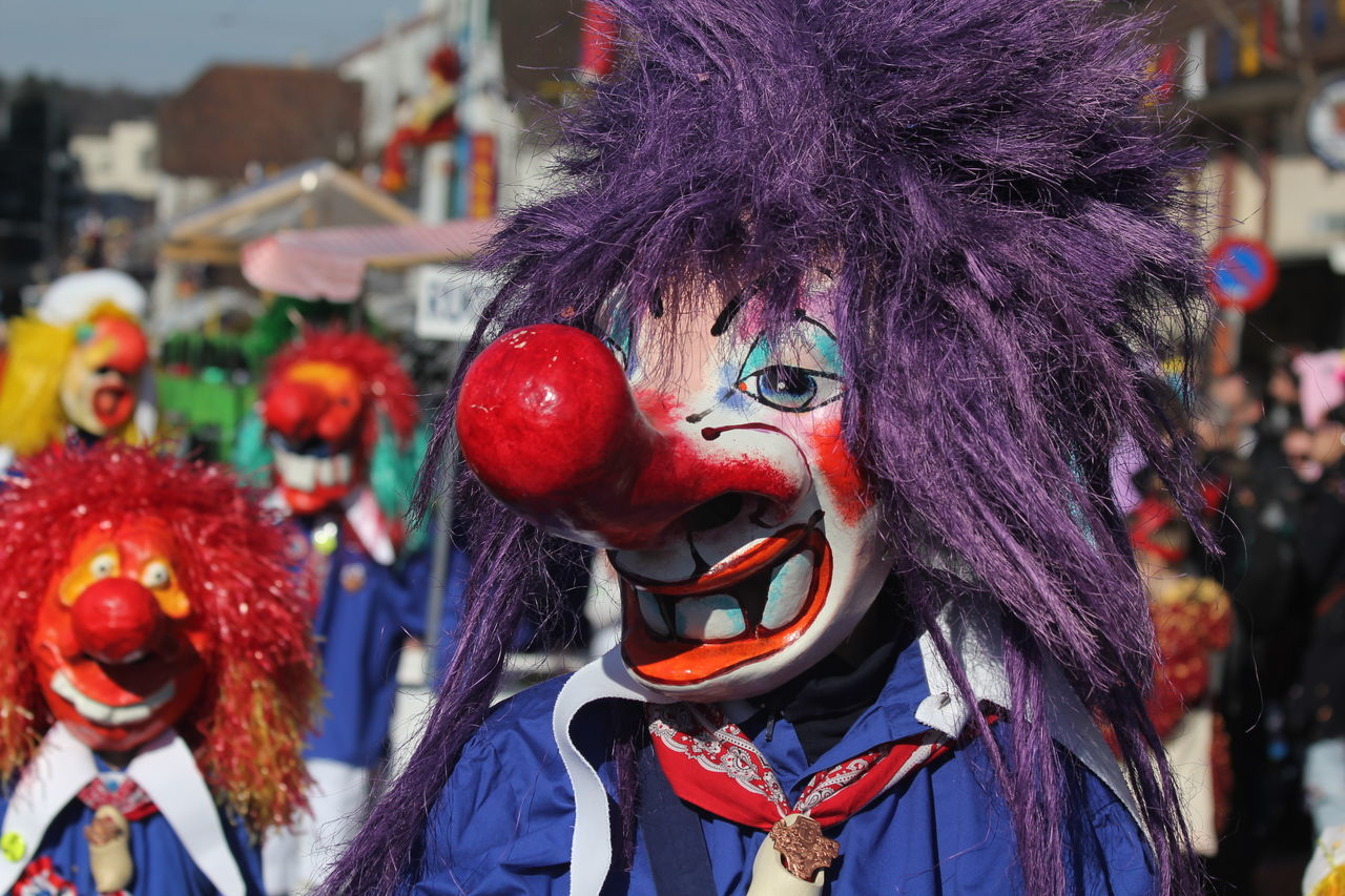 Fastnacht 2017 Celebration Clown Costume Fasnacht March Masks Outdoors Parade Reinach Swiss Culture Switzerland Tradition Waggis