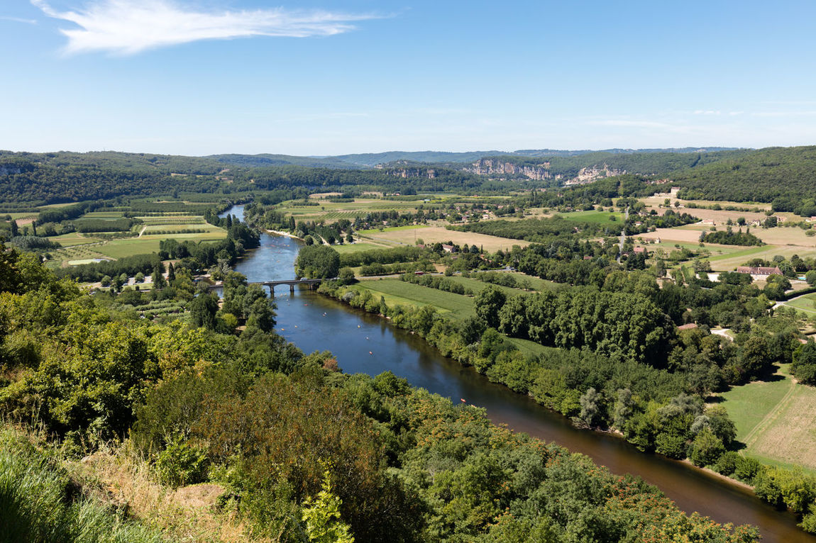 Beauty In Nature Countryside Day Dordogne Field France Green Growth High Angle View Idyllic Landscape Nature Non-urban Scene Plant Remote River Scenics Sky Solitude Tranquil Scene Tranquility Travel Destinations Tree Water Wide