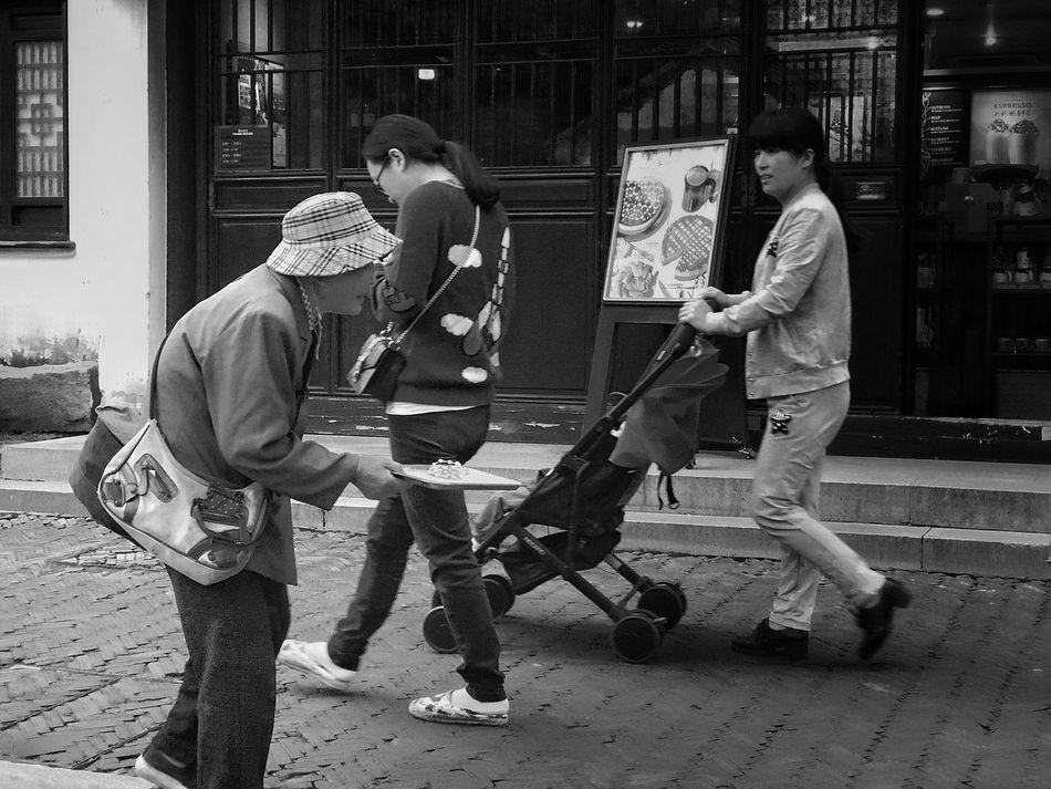 Elderly Lady Females Outdoors People China Black And White Street Photography
