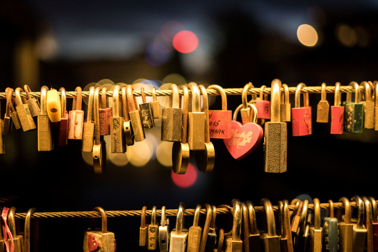 Lovelocks in Ljubljana Close-up Focus On Foreground Hanging Hope Large Group Of Objects Ljubljana Lock Love Love Lock Metal Outdoors Padlock Slovenia