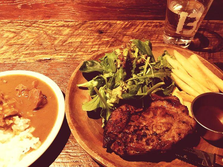ローストポークプレートplusカレー🍛〜 Food Freshness Table Ready-to-eat Meat Plate Roastpork Pork Porksteak Lunch Lunch Time! Roasted at ブッチャーズ八百八