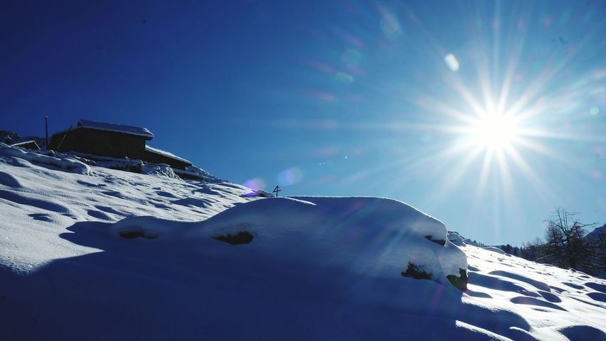Snow Sun Lens Flare Sunlight Cold Temperature Winter Winter Sport