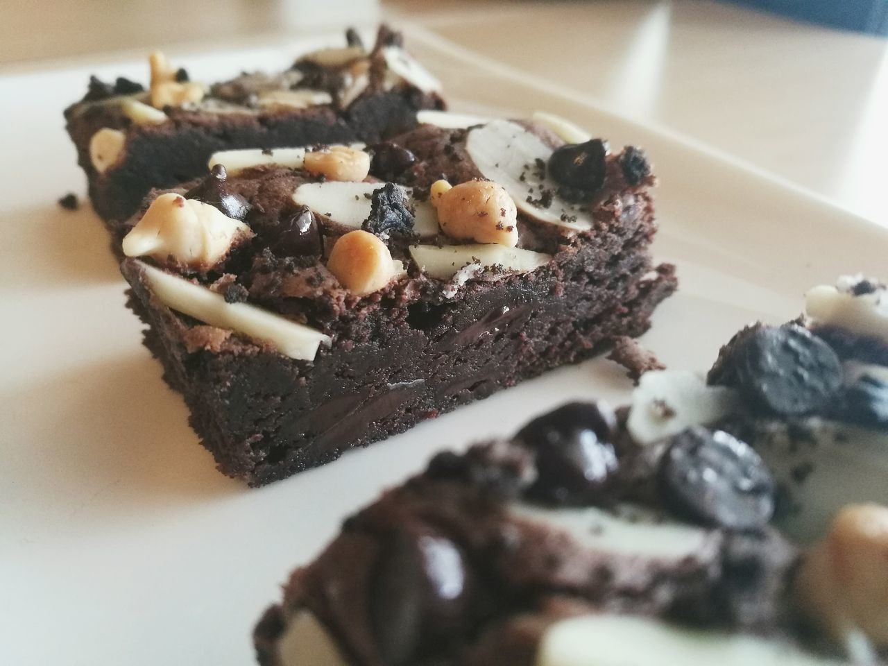 Indoors  Food Healthy Eating Food And Drink No People Close-up Freshness Ready-to-eat Day All_brownie HuaweiP9 Brownie Brownies Brownie Mix  Homemade Brownies Homemade Bakery Chocolate Dark Chocolate Dessert Desserts Almond