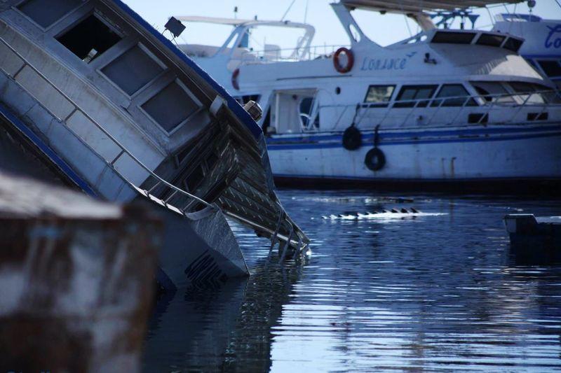 Ship Building Water Sea Ships⚓️⛵️🚢 Factory Egypt Hurghada 🌞 Rear View Blue Rust Sinking Ship Rusty Repairs Handmade