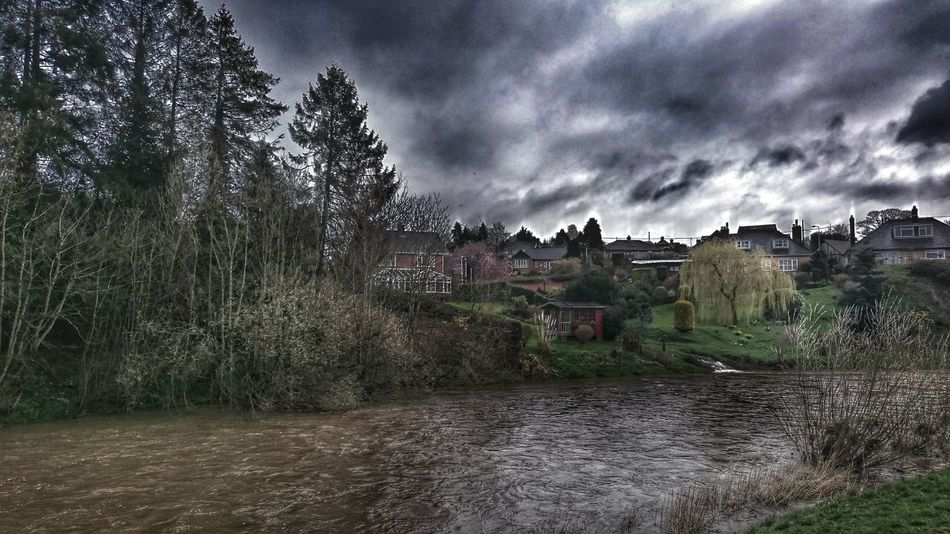 Stormy Weather Stormy Sky Floods Severn River Severn In Newtown, Winter River Severn Newtown Powys River View Hdr_Collection Rainy Days