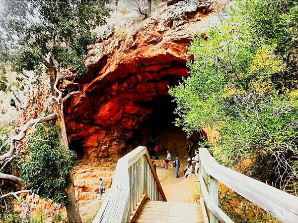 Landscape Still Life Photography Colours Rock Cave Trees Stairs Hikers Red Green Brown taken at Morialta Falls Adelaide Australia