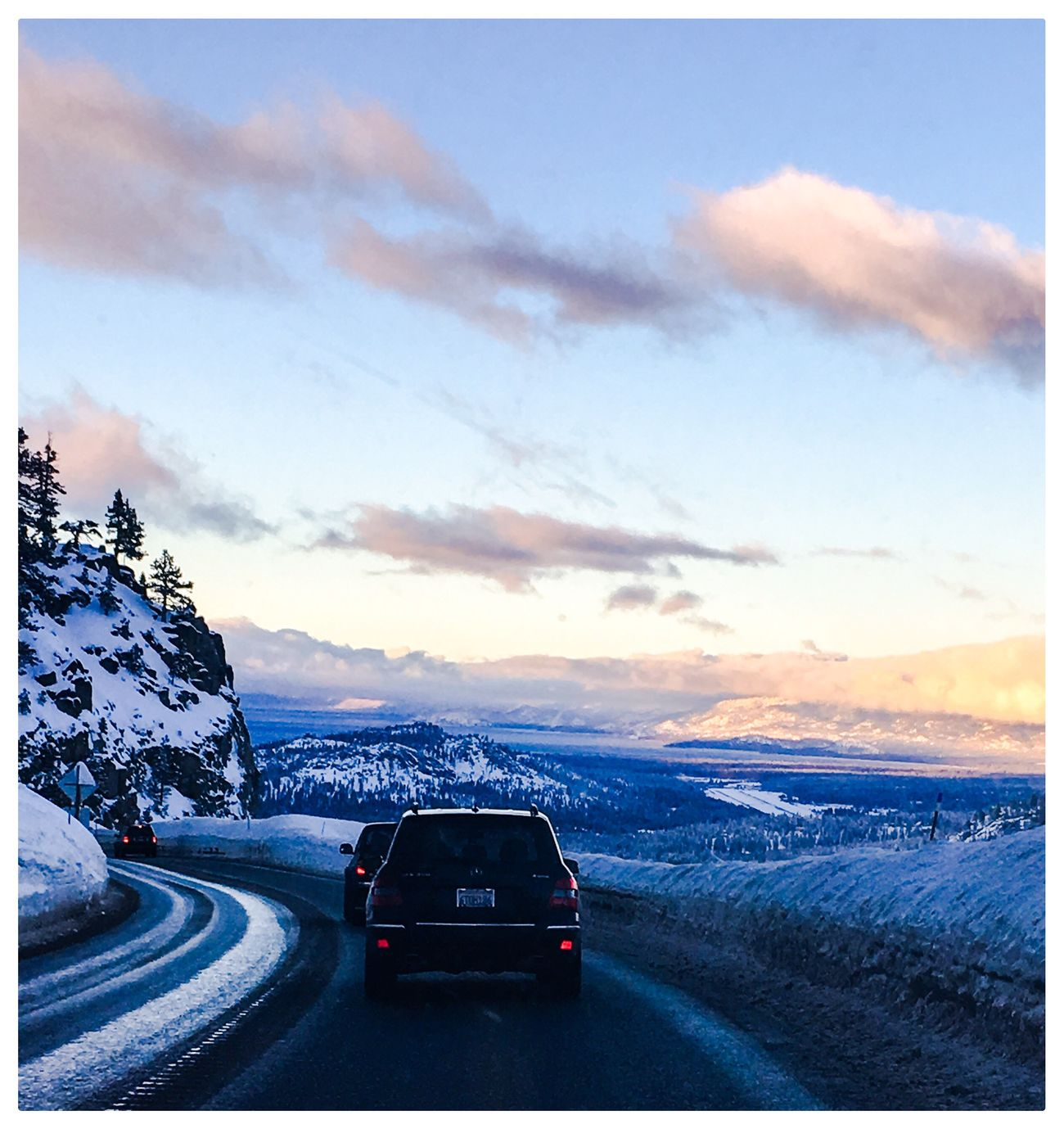 IPhoneography Taking Photos Architecture Car Transportation Sky Cloud - Sky Road Travel Land Vehicle Mode Of Transport Sunset Landscape Mountain No People Nature Cold Temperature Beauty In Nature Outdoors Day