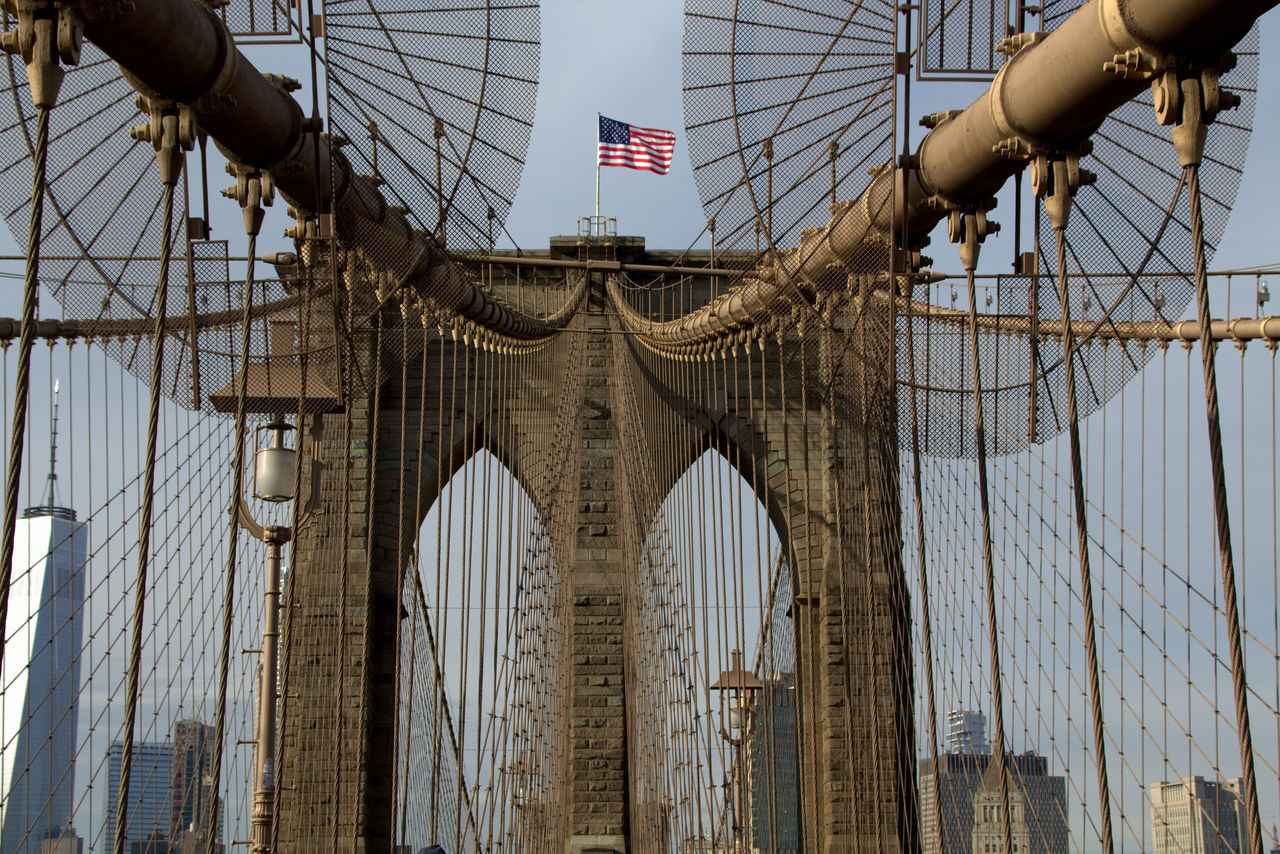 Architecture Bridge Bridge - Man Made Structure Built Structure Day Flag Low Angle View New York New York City No People Outdoors Patriotism Sky Symetry Symmetrical Symmetry Text Travel Travel Destinations