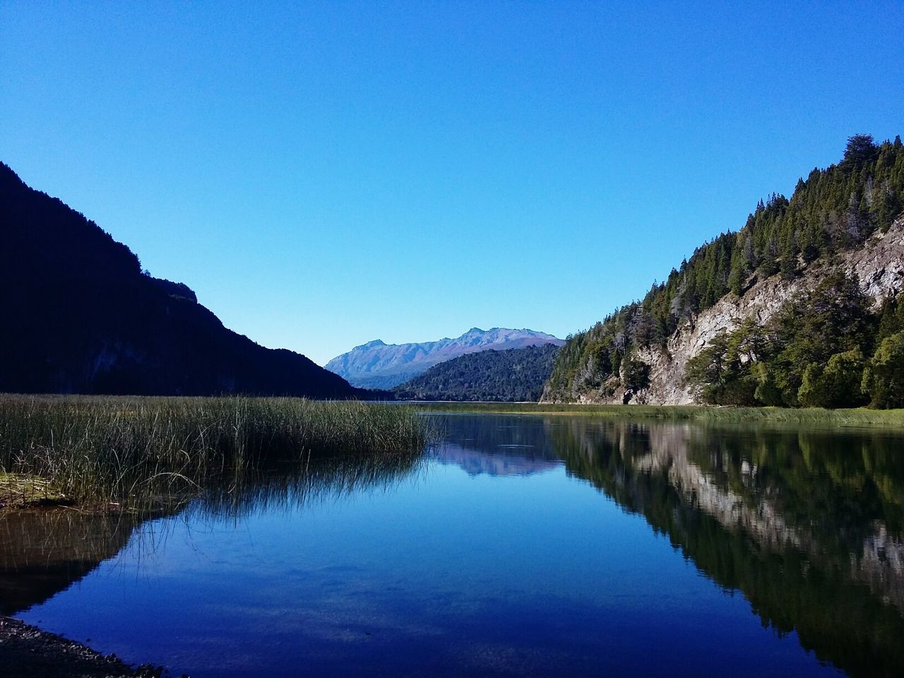 reflection, blue, tranquil scene, lake, tranquility, water, nature, mountain, clear sky, beauty in nature, scenics, copy space, waterfront, outdoors, no people, day, mountain range, symmetry, tree, sky