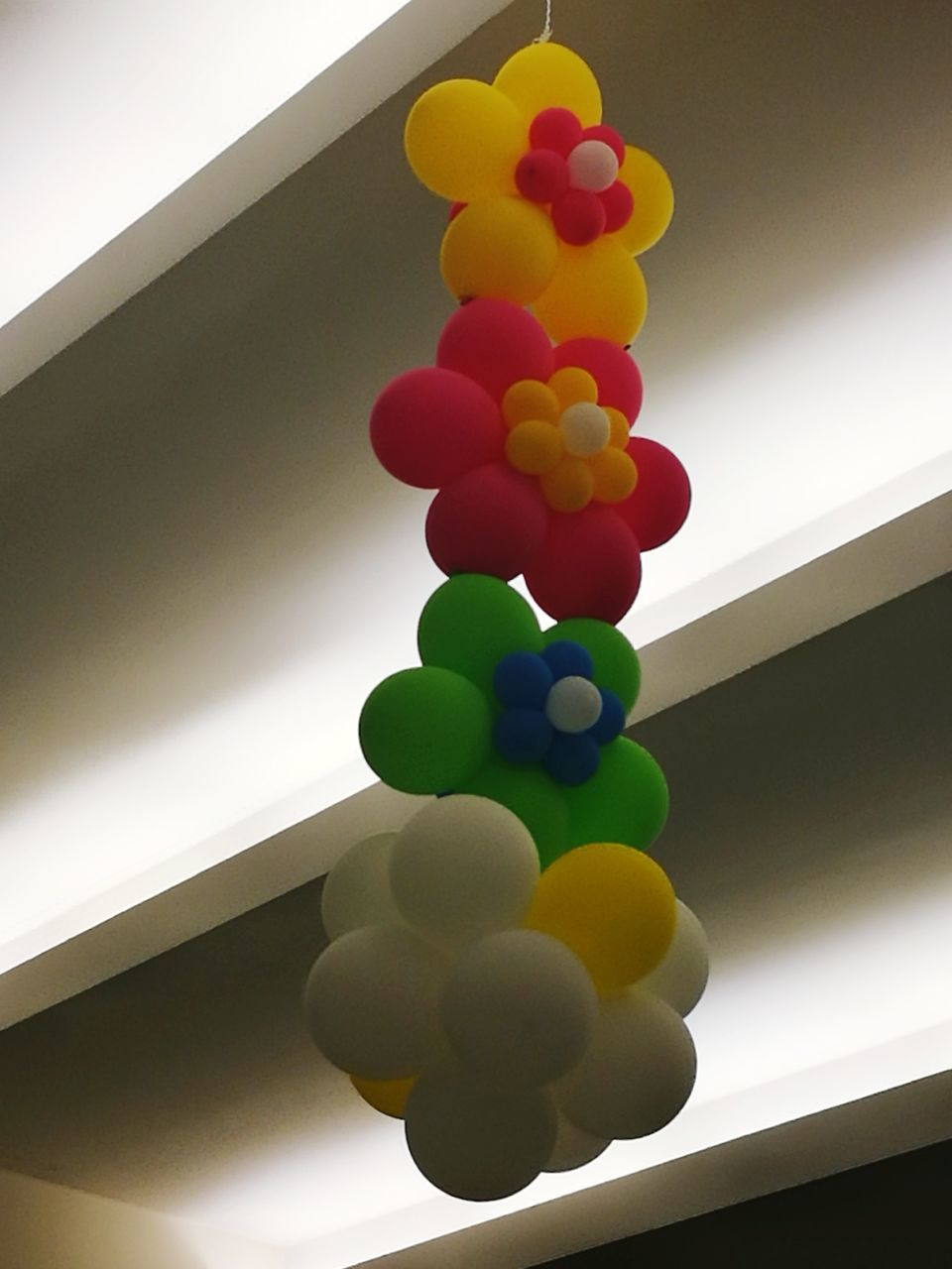 balloon, multi colored, celebration, helium balloon, indoors, no people, low angle view, childhood, day, close-up