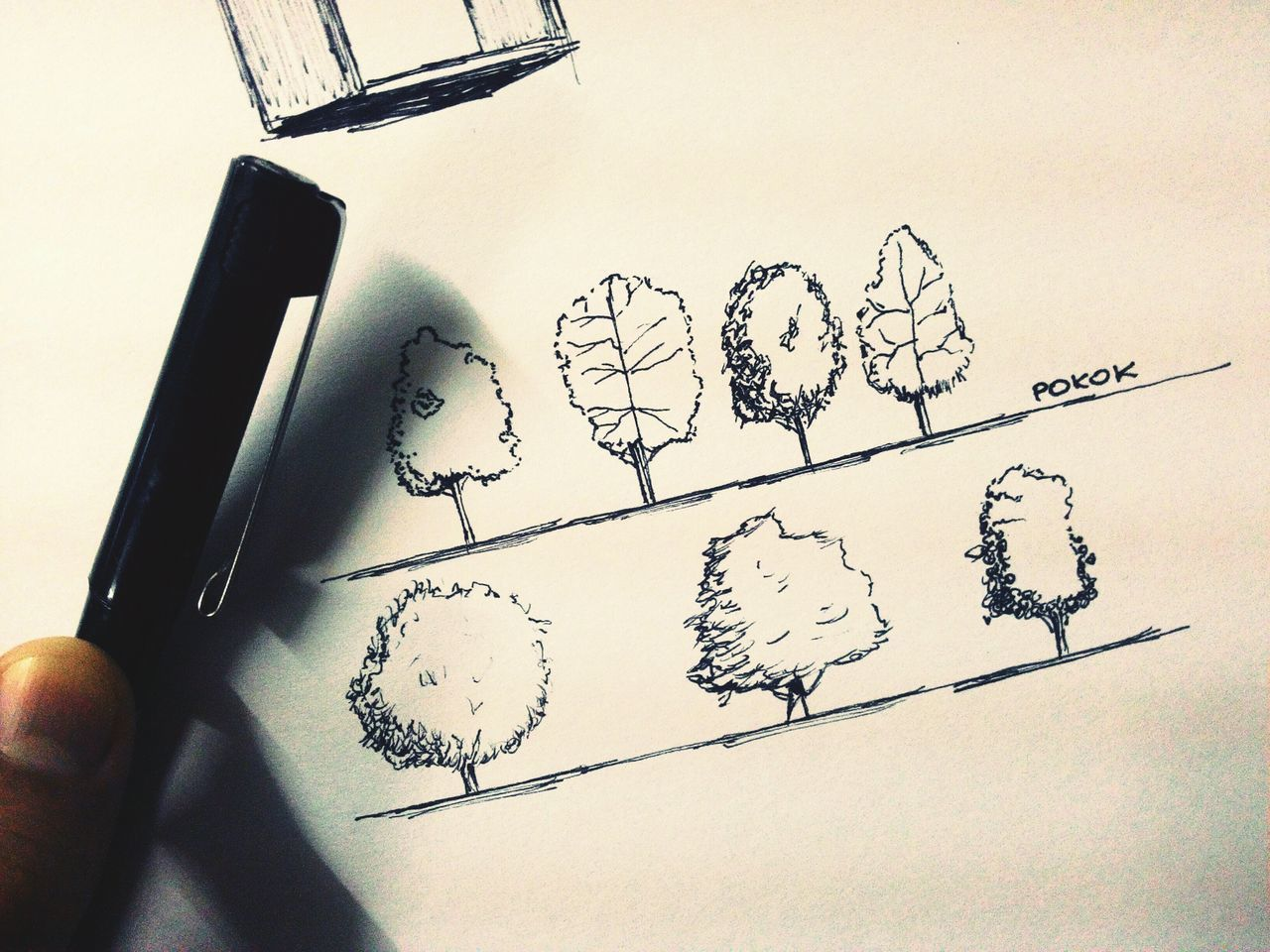 Angin kencang membawa kau..jauh ke sana..kau hilang terus tanpa khabar.. Architecture Sketch Trees Artline