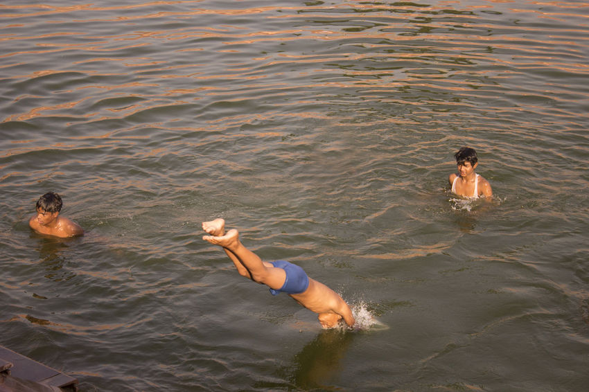 High Angle View People Outdoors Water Vacations Togetherness Swimming Friendship Pond Travel Photography Lucknowdiaries Lucknow👌City Dive Jump Playing Having Fun