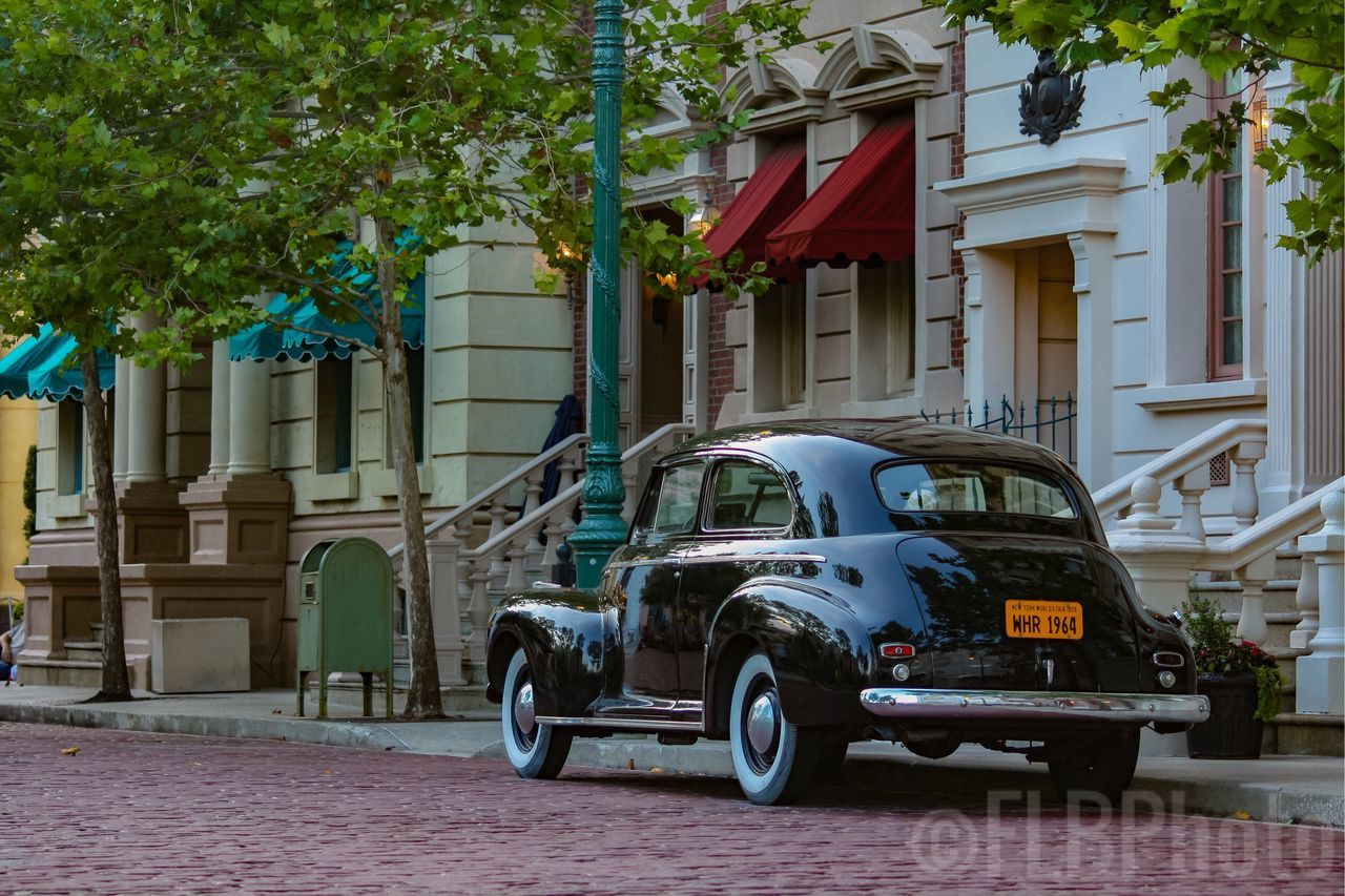 Old car on the street at Universal Orlando. Transportation Old Car Universal Studios Orlando Universal Studios  Universal Photography Neighborhood Beautiful Outdoors Building Exterior Architecture Awesome