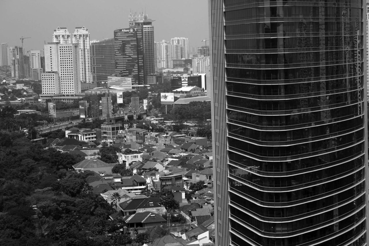 Surrounded. City Cityscape Buildings Black And White From The Rooftop