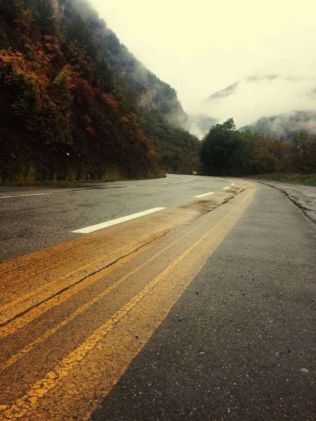 Road Nature Outdoors Beauty In Nature Mountain Foggy Autumn Colors