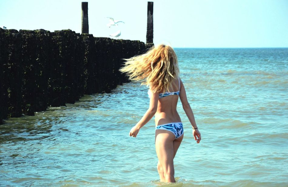 North Sea Water Sea Blond Hair Long Hair Beauty Nature Beauty In Nature Sunshine Nature Photography Person Weekend Activities Summer In Love With Sea Seagulls Water Young Women Sea Blond Hair Long Hair Scenics Young Adult Beauty Summer