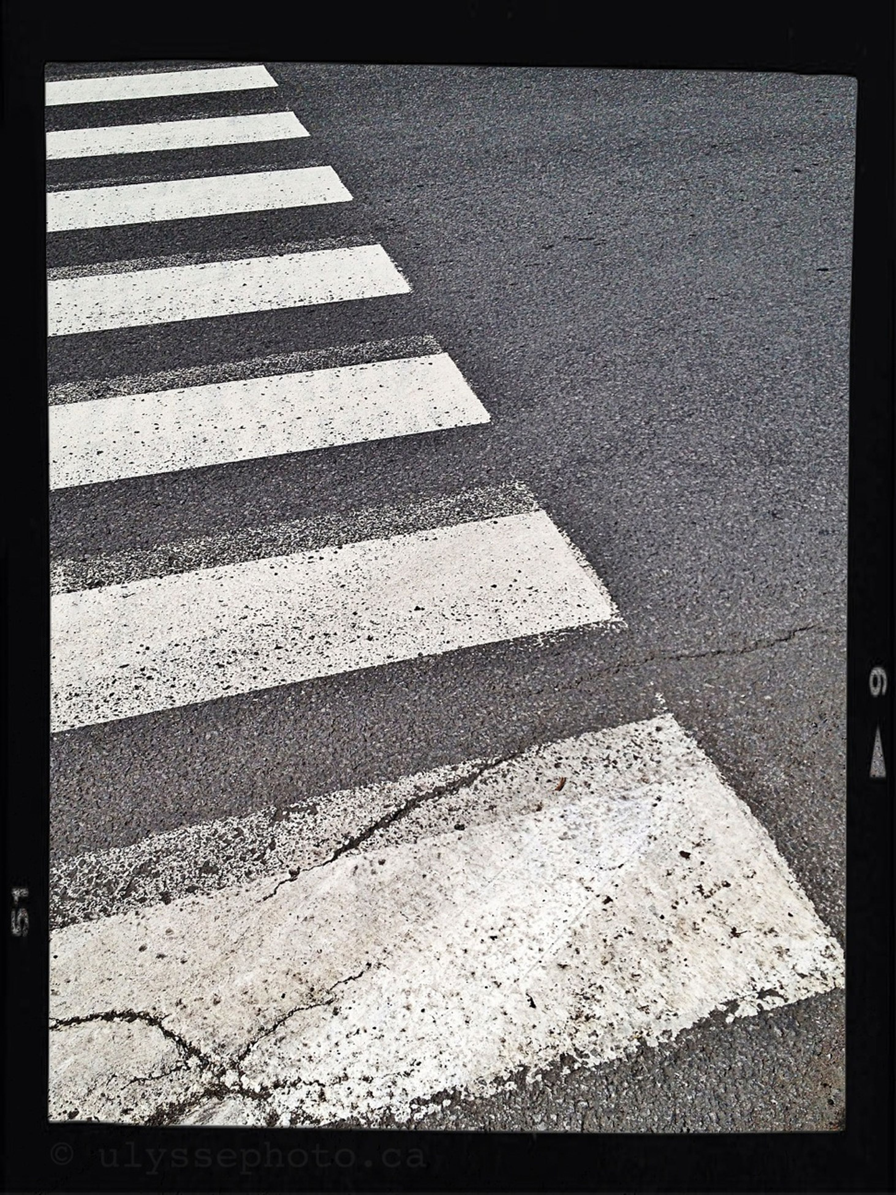 road marking, asphalt, road, street, transportation, transfer print, high angle view, auto post production filter, zebra crossing, guidance, sunlight, day, outdoors, shadow, the way forward, no people, white color, red, direction, road sign