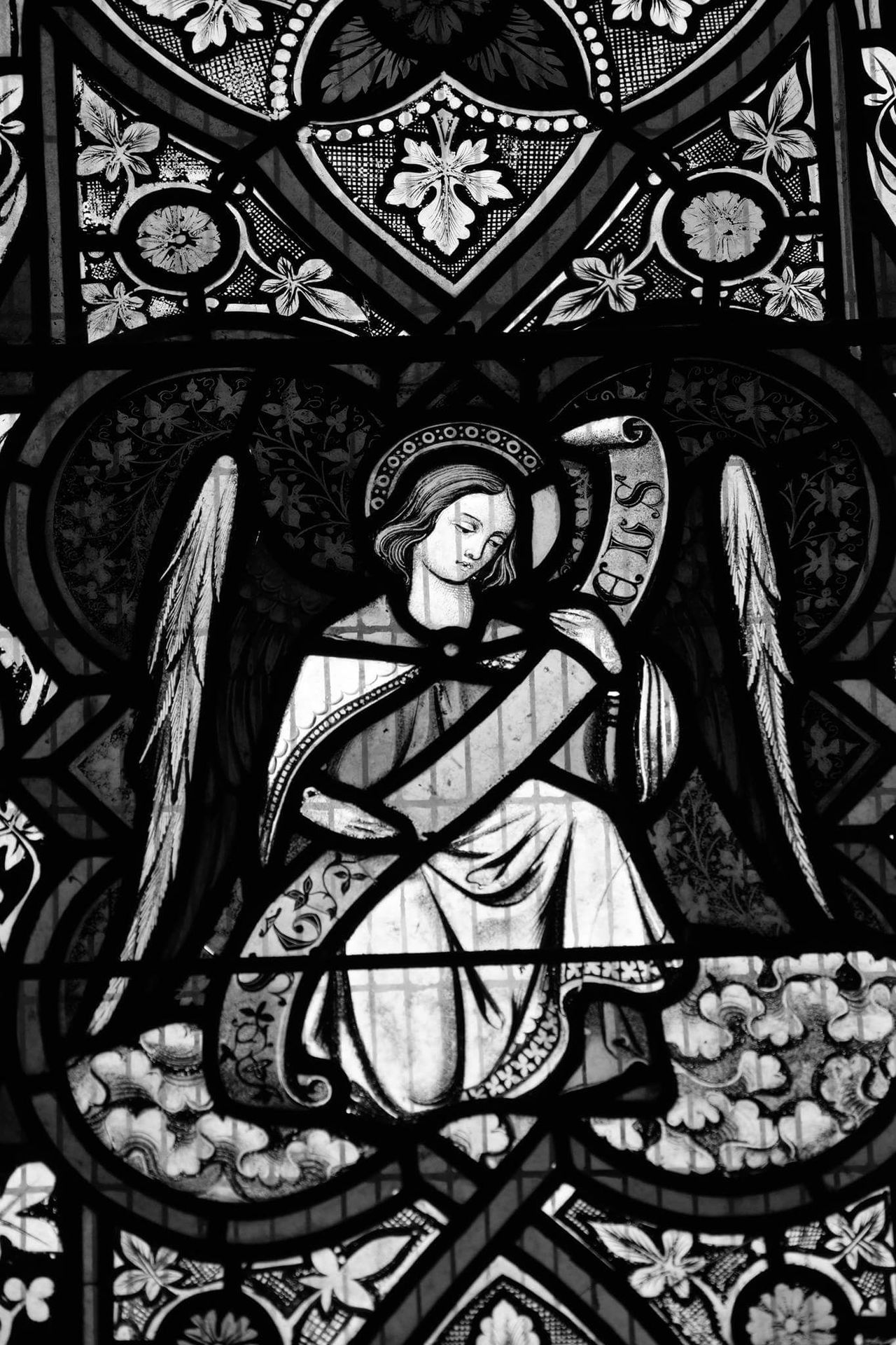 Church Stained Glass Window Close-up No People Backgrounds Indoors  Day Blackandwhite Traditon Religion And Beliefs Black And Grey Indoors  Closeup Selective Focus Scenics Angels