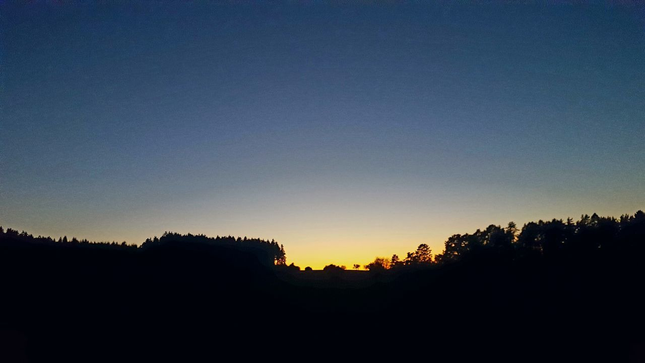 silhouette, sunset, tree, nature, clear sky, copy space, tranquil scene, no people, landscape, scenics, outdoors, beauty in nature, sky, day