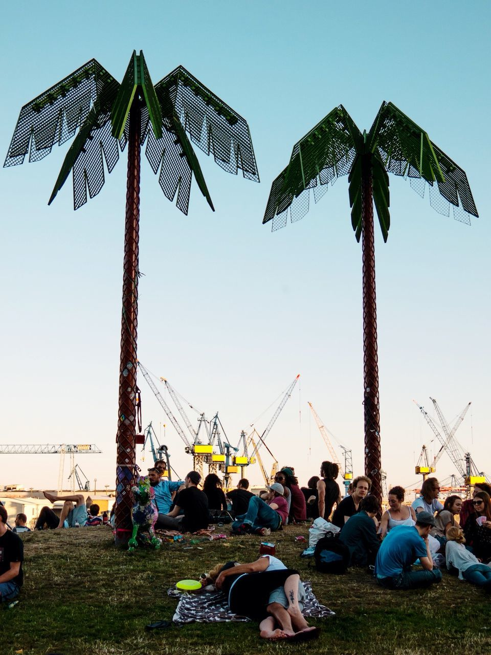 large group of people, enjoyment, clear sky, leisure activity, real people, women, men, palm tree, built structure, lifestyles, sky, outdoors, vacations, day, arts culture and entertainment, tree, blue, relaxation, togetherness, nature, grass, architecture, crowd, people