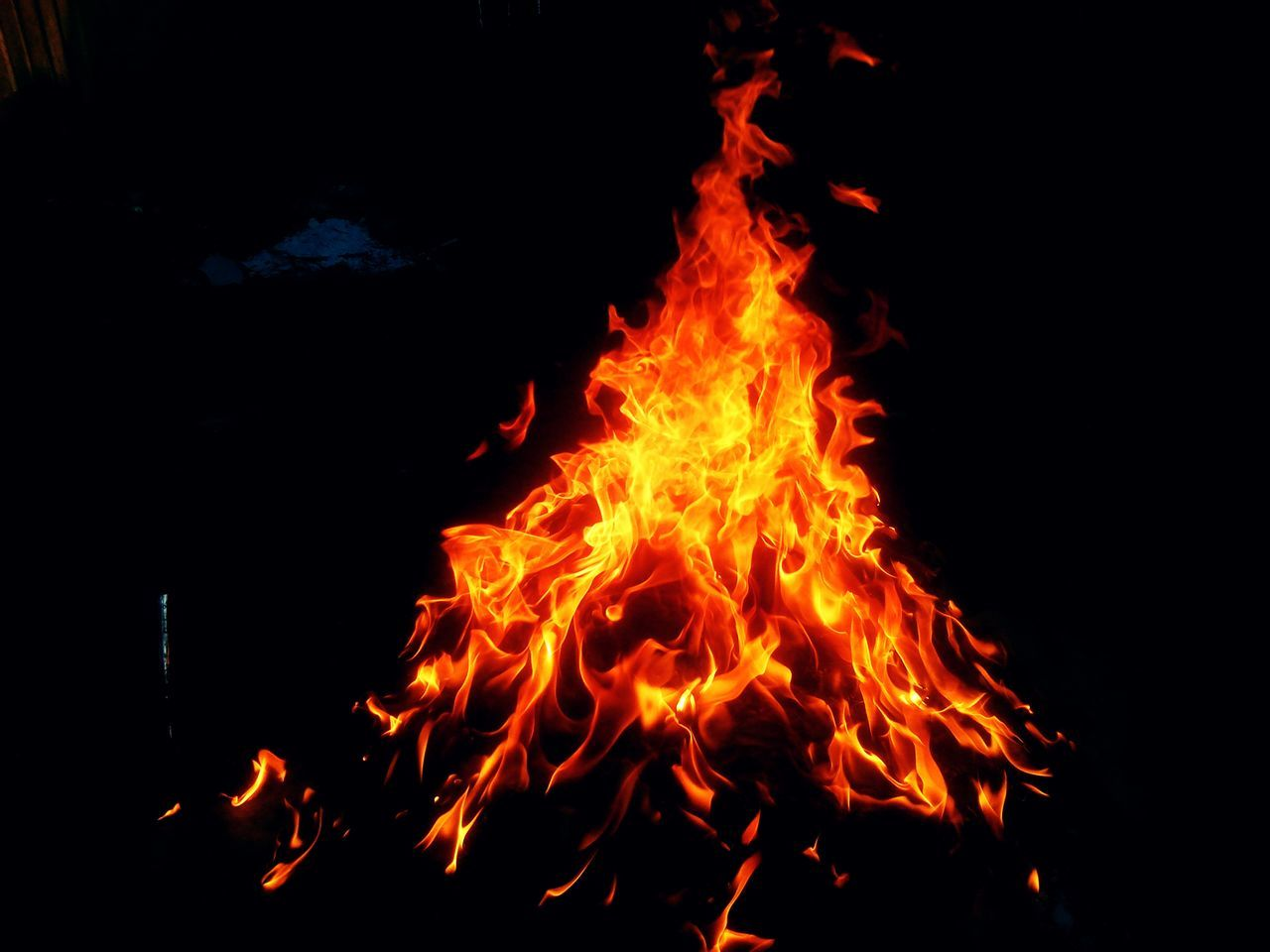 orange color, burning, no people, flame, outdoors, night, close-up, bonfire, nature