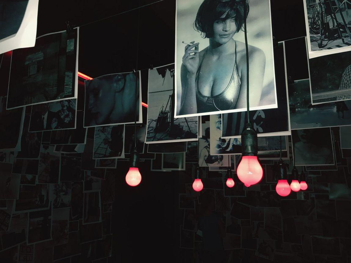 Photography Photographer Peter Lindbergh Hanging Illuminated Human Representation Night No People Store Built Structure Dark Room Redlight