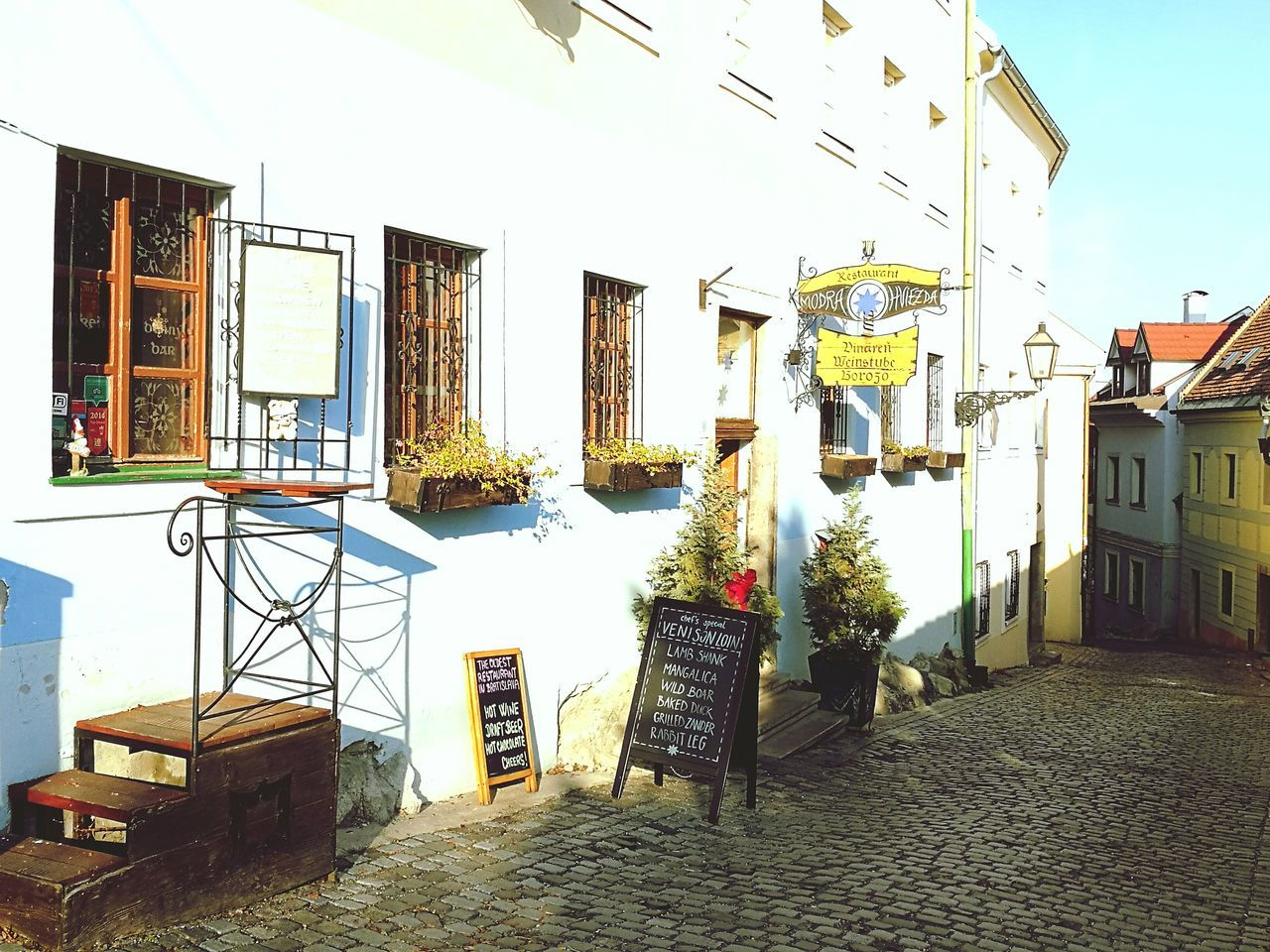 Bratislava, Slovakia Pub Beer Traditional Hill Cobbles Colourful Winter Cold Clear Sky History