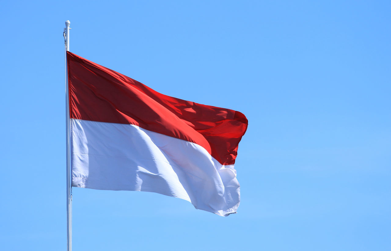 Indonesia Flag, Red and white Blue Blue Sky Clear Sky Day Flag Flying Flag Independence Day INDONESIA Indonesia Flag Low Angle View No People Outdoors Patriotism Red Red And White Sky State