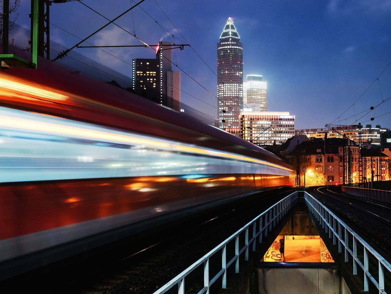 Transportation Architecture Illuminated City Built Structure No People Building Exterior Outdoors Skyscraper Sky Night Frankfurt Train Skyline Frankfurt Skyline Cityscape Street Longexposure Clock