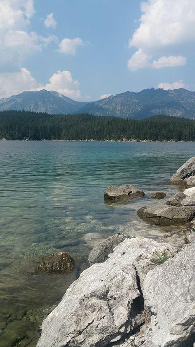 😌👙☀🌊 Water Eibsee Mountains And Sky Beautiful Nature Enjoyeverymoment Vacation Spontaneous Friends Bavarian Alps Followme